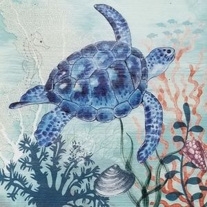 "New! 15 3/4"" Sea Turtle Wood Wall Art - Nautical"